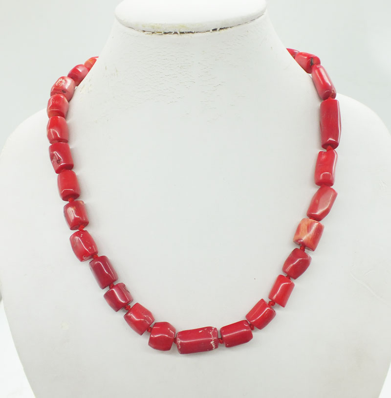 100% natural irregular red coral necklace 20