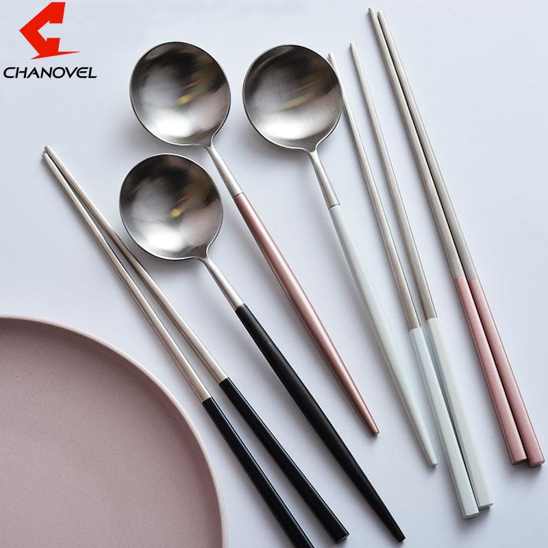 JULE® Top Food Stainless Steel Korean Dinnerware Set Silver Sushi Chopsticks
