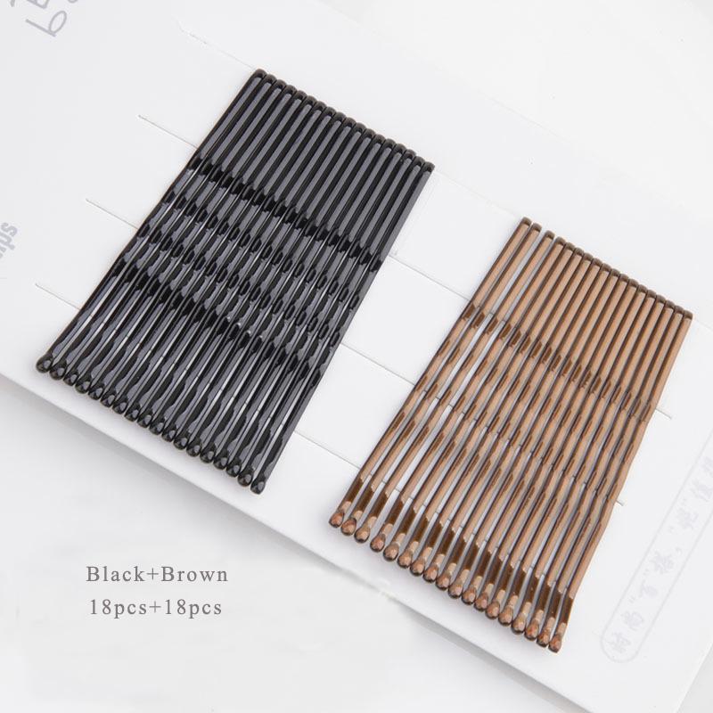 60Pcs Top Bobby Pins Barrette Noir Streamline design en métal type clips cheveux