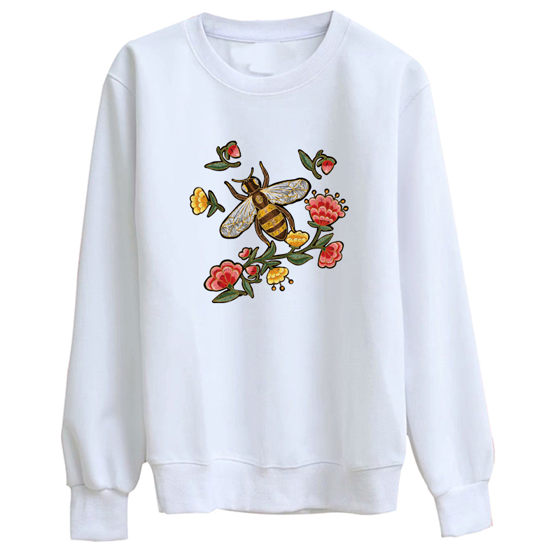 Hillbilly J-1031 Sweatshirt Chinese style creative embroidery printing ladies long-sleeved hoodie Casual lady white t-shirt