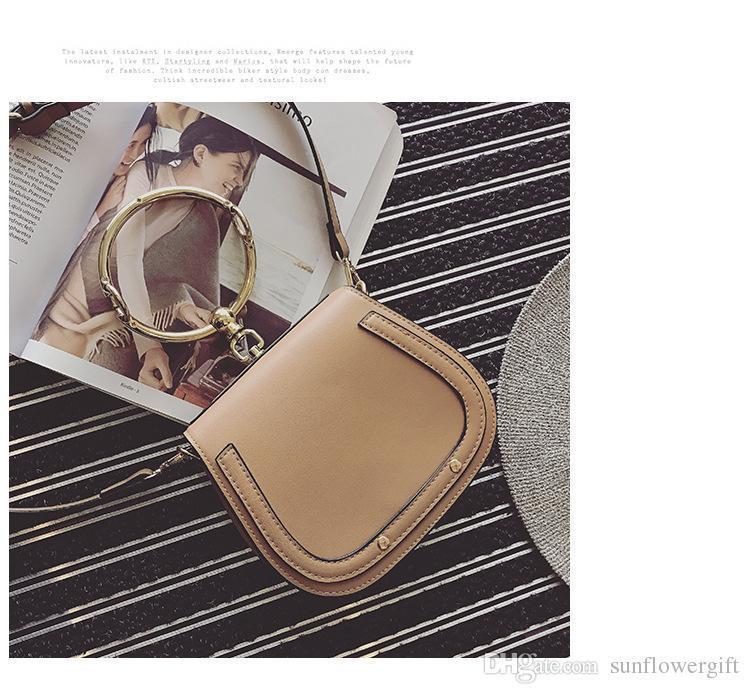 Unique Design Women Bucket Handbag Retro Metal Ring Luster Lady Crossbody Bag Vintage Cow Leather Shoulder Bag