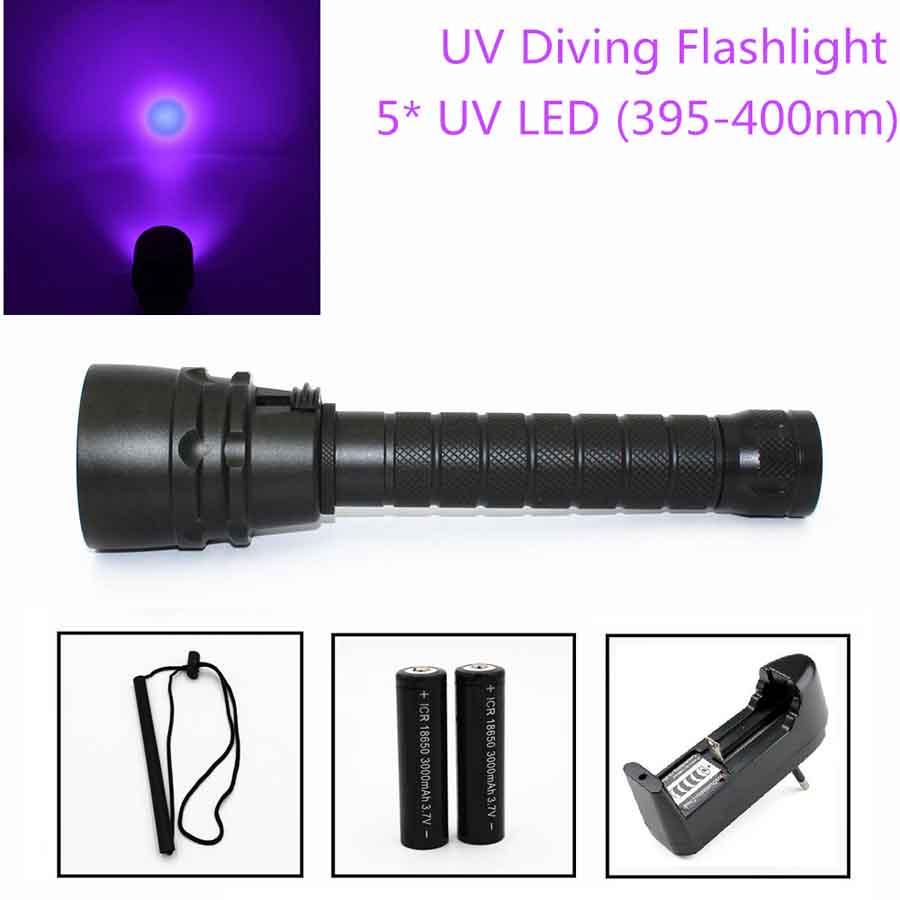 Wasserdicht 395-400nm 3x XPE Lila UV LED Tauchen Taschenlampe 18650 bis 100m DHL
