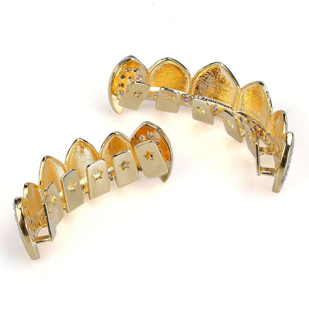 18K Real Gold Teeth Grillz Caps Iced Out Top Bottom Vampire Fangs Dental Grill Set Wholesale