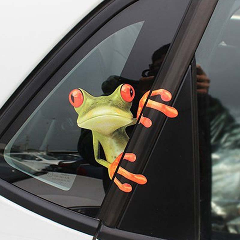 Car Sticker 3D Animal Peep Frog Stickers Funny Window Decals Waterproof Decals Auto Motorcycles Graphics Stickers Exterior Accessories