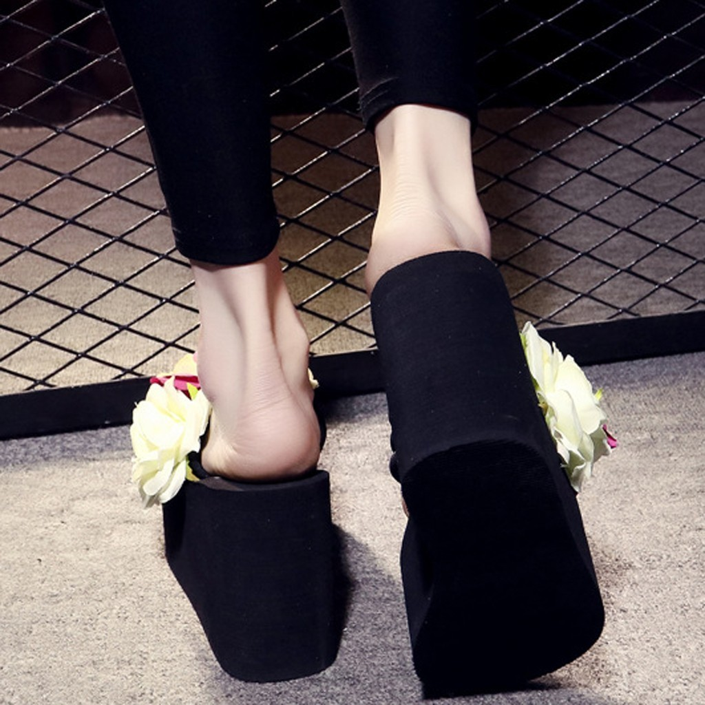 1Summer Women Slippers 2019 Flower Wedges Slippers Women Shoes Bohemian Slides Beach Platform Slippers Shoes