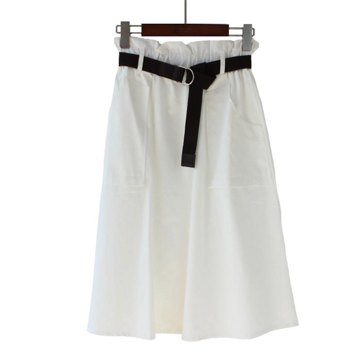 2019 Estate Cotton Bud Skirt Office Lady Belt a vita alta tasche Gonne donna coreano moda streetwear J190625