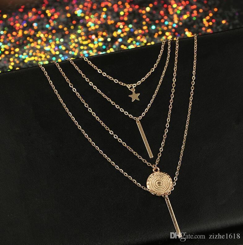Necklace Pendant Set Star Beach Summer Woman Girl Gift Fashion Wholesale Pop Jewelry Gold
