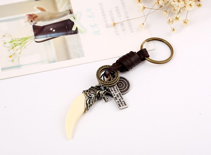 Restore Ancient Ways Weave Resin Langya Genuine Leather Key Buckle Cowhide Key Ring Type Male Pants Retaining Ring Key Chain