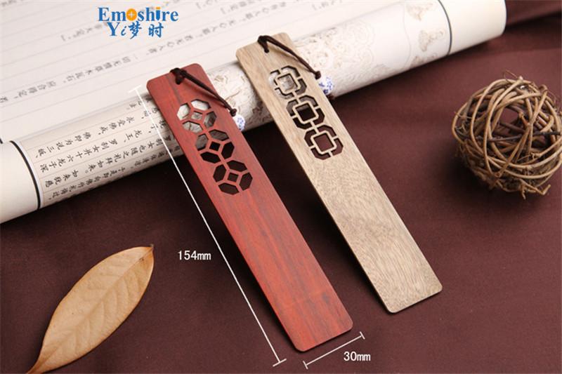 Emoshire High-grade solid wood bookmarks set of classical hollow Branch Tan gold silk Nanmu Chinese wind bookmarks custom custom TSQ04 (6)