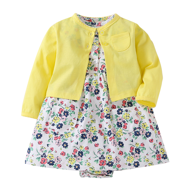 fashion gift 2018 spring FALL 2PCS baby girls outfit long sleeve cardigan yellow+romper dresses flower newborn baby clothing set