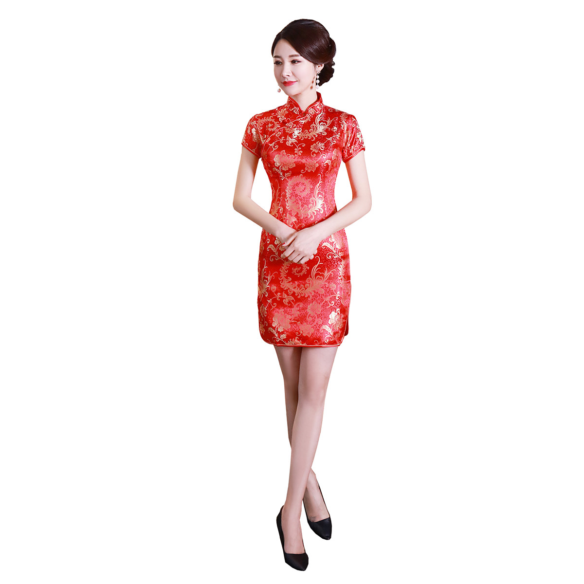 Splendidi fiori rosa Etnico Cinese Ricami Qipao Cheongsam mezza manica slim