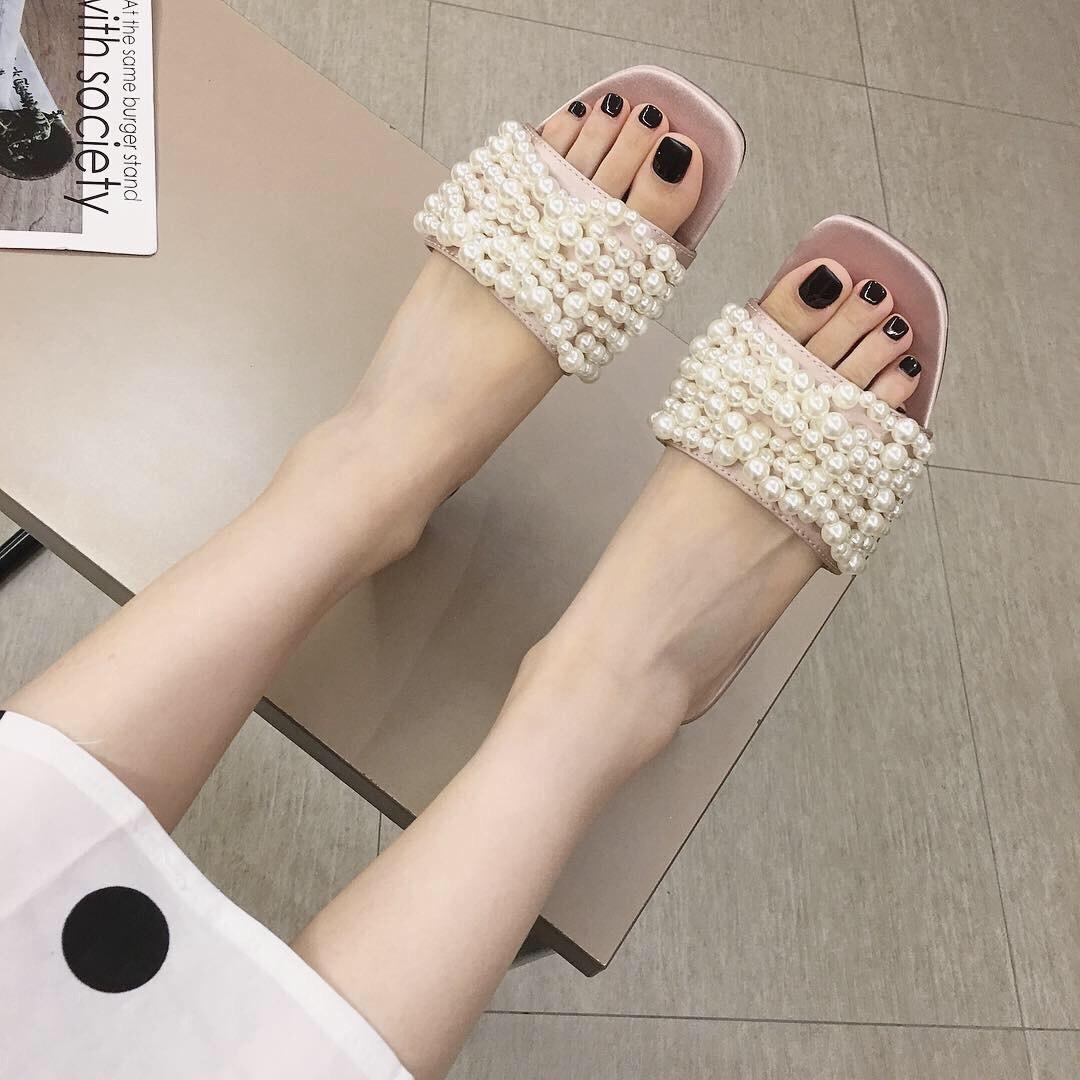 Crystal2019 Cadena Zhenzhu Xia Weave Woman Low con parte inferior plana Slipper Cool Temperamento Negro Zapatos de mujer