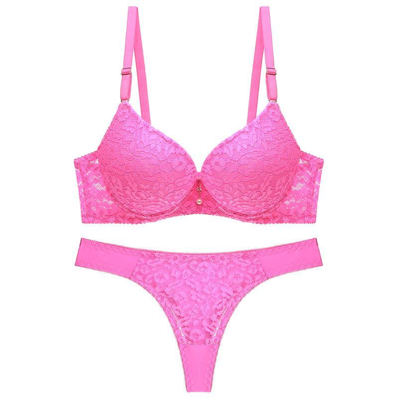 vente en gros nouvelle 2019 sexy thong femmes soutien-gorge ensemble Push Up solide soutien-gorge bref ensembles dentelle en nylon coton sous-vêtements panty ensemble