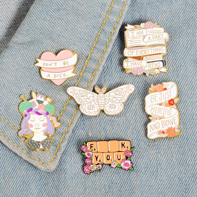 Pinback Buttons Badges Pins Lotus Flower Lapel Pin Brooch Clip Trendy Accessory Jacket T-Shirt Bag Hat Shoe