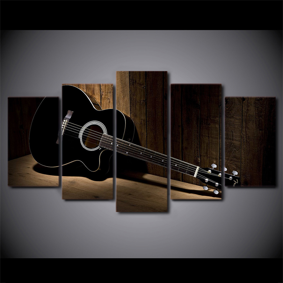 New Style Canvas Painting 5 Panel Music Guitar Prints Bedside Background Wall Art Modular Picture Poster Hang Picture Home Decor