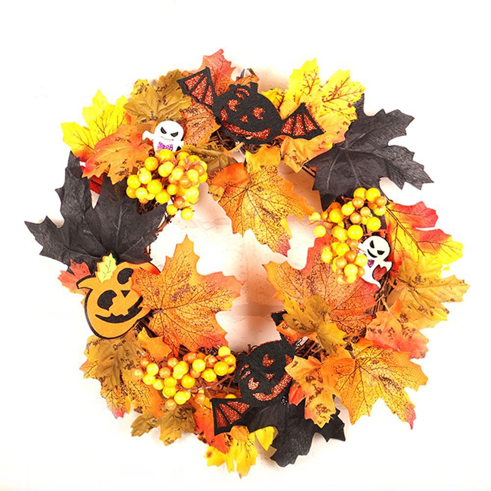 Cratone Halloween Guirlande Potiron Suspendu Halloween d/écorations couronnes /à Suspendre Fleurs D/écor Porte Avant pour Halloween Jardin d/écorations de f/ête