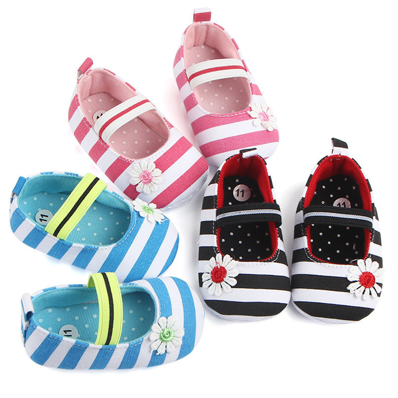 Summer Boys Girls Shoes Infant Kids Girls Baby Stripe Flower Shoes Soft Sole Anti-Slip Shoes First Walker NDA84L25 (1)