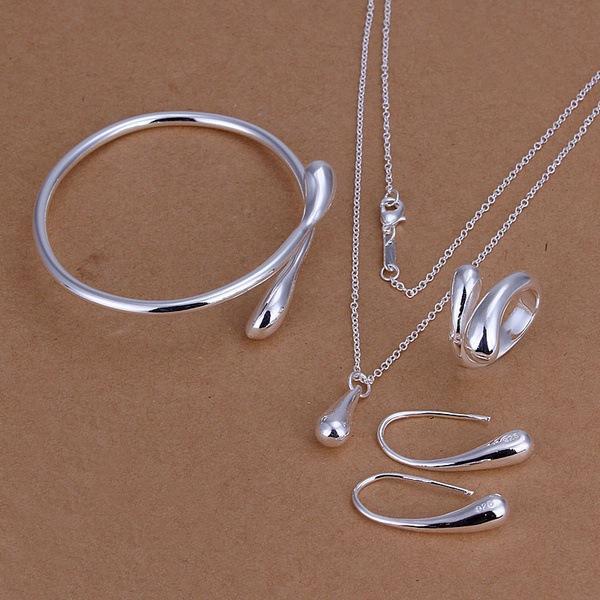 Wedding Jewelry Set 925 Stering Silver Jewelry Sets Silver Water Drop Bangles Bracelets Pendant Necklace Finger Rings Earrings For women