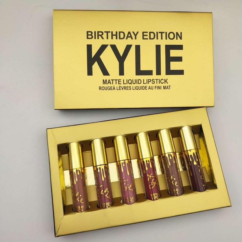 High Quality Kylie Jenner Makeup 6pcs Birthday Holiday Valentine Limited Edition Lipgloss Set Matte Liquid Lipstick Lip Kit Gloss