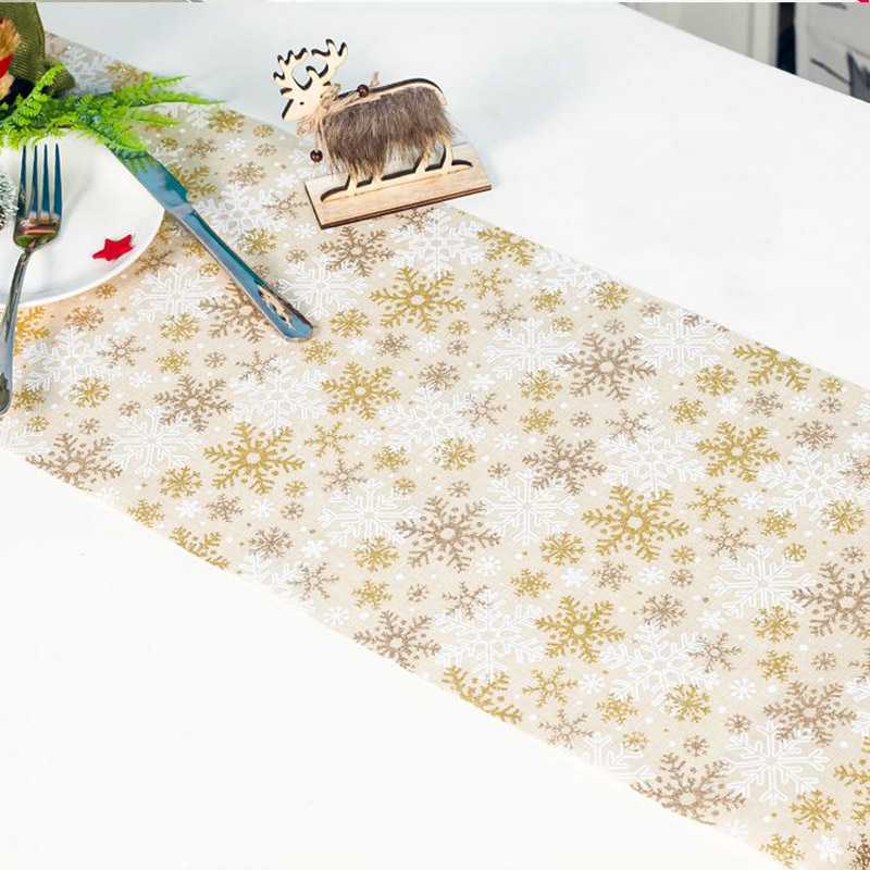 VU100 Natural Linen Table Runner with Lace Edge 12 x 58 for Wedding Party Dinner Kitchen Table Decor Beige Yellow Machine Washable Elegant Classic Table Runner