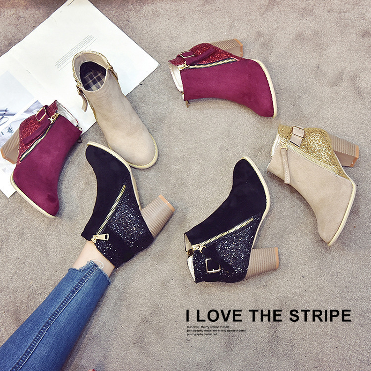 Ankle Women Boots Winter Warm Plus Size High Hees Shoes Woman Bling Zip Pointed Toe Sexy Short Wedding Shoes For Females889