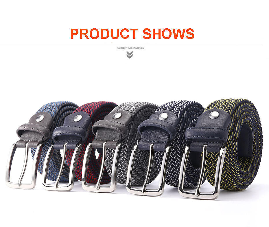 Mixed Color Lastic Stretch Belt Braided Knitted Stretch Belts Elastic Belt