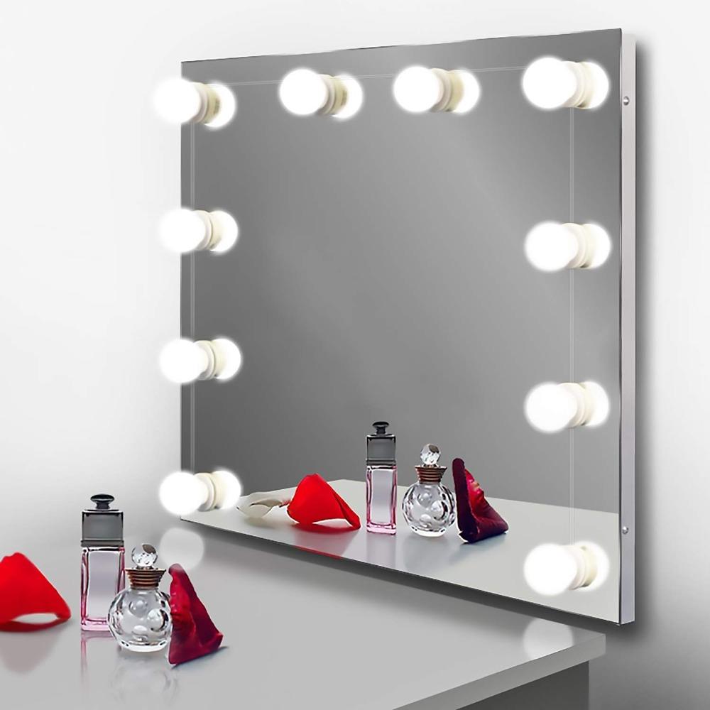 2 light bulbs Portal/ámparas blanco para mesa de tocador o ba/ño kit de luz de tocador LED con bombillas de iluminaci/ón de color regulable estilo Hollywood DANQI L/ámpara de espejo de tocador LED