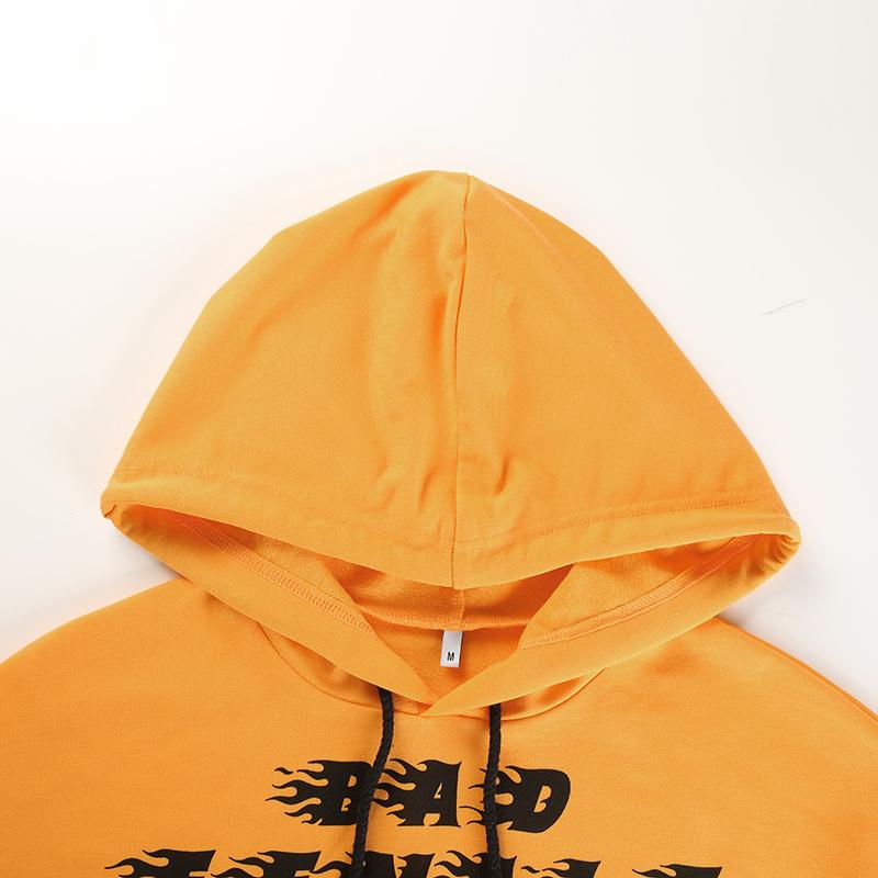 7Sweetown Plus Size Crop Top Long Sleeve Tshirt Women Orange Letter Printed Tee Shirt Femme Girl Power Woman T Shirt Hoodie Top