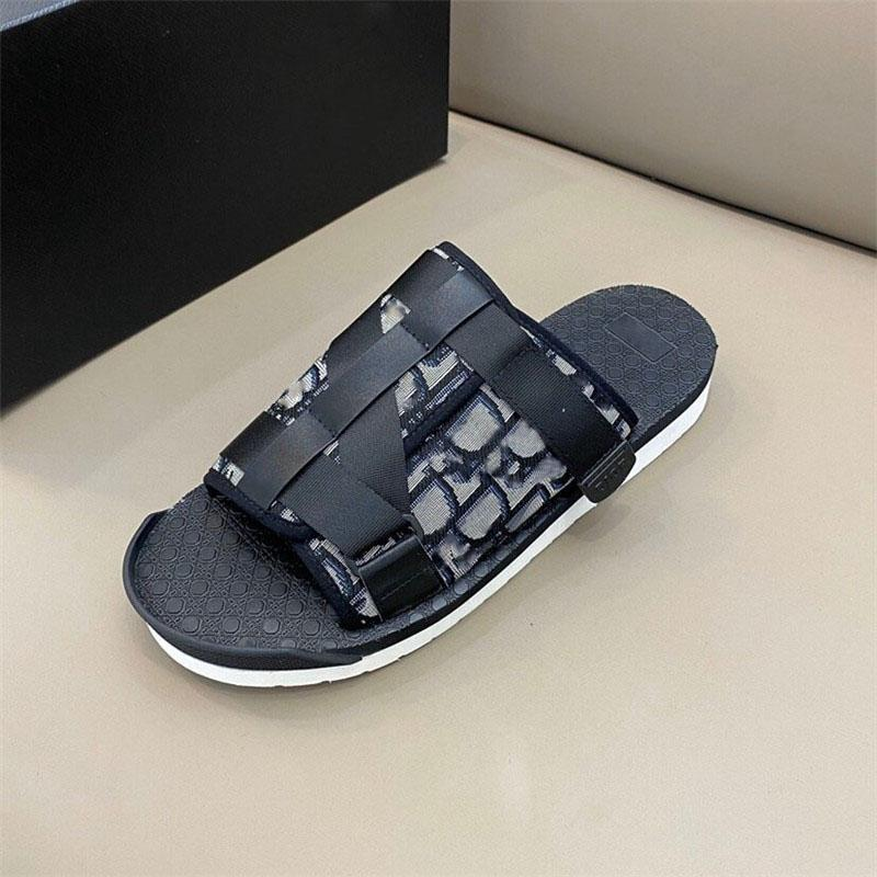 2020 Men BLACK ALPHA SANDAL IN OBLIQUE JACQUARD summer Men slippers nylon bands comfortable rubber sole scuffs with box size 38-45