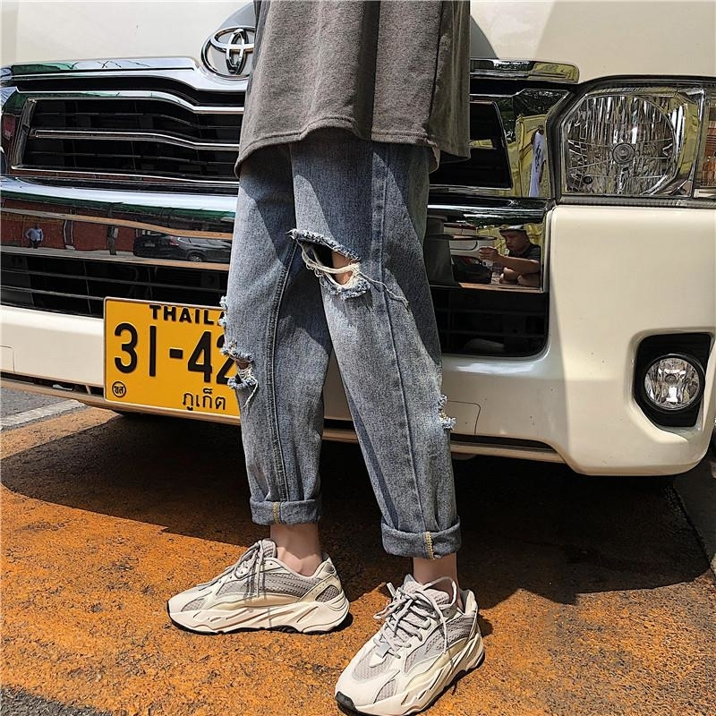 2019 ins Men Pants Casual Mens hip hop rap Male Trousers street jeans Japan Straight Full close-fitting breathing loose Pant