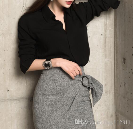 Plus2019 Korean Version Of The Ladies Pop Long-sleeved Shirt + Bag Hip Skirt Suit
