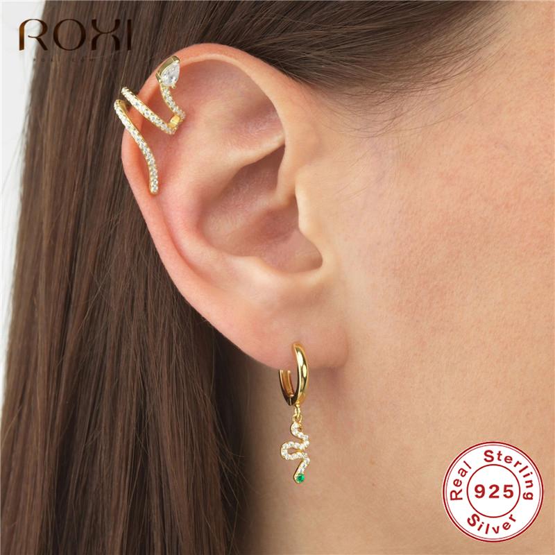 Jewelry Creative Zircon snakelike Girl Ear Stud Simple Temperament Snakelike Long-Style Earrings