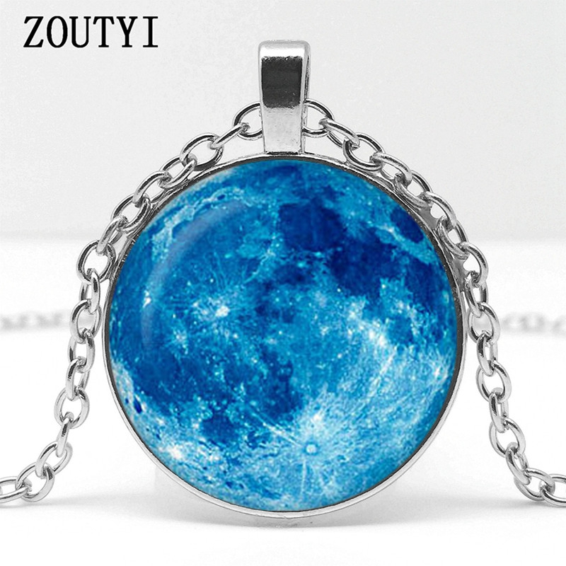 Bright full moon glass dome Tibet silver Chain Pendant Necklace wholesale