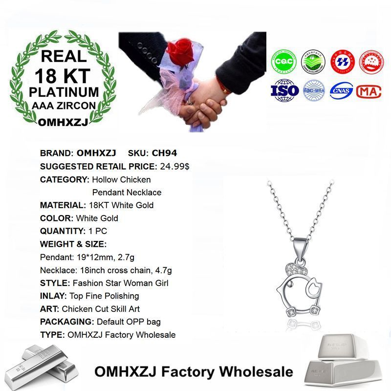 cWholesale Personality Fashion OL Woman Girl Party Gift White Hollow Chicken 18KT White Gold Charm Pendant Necklace CH94