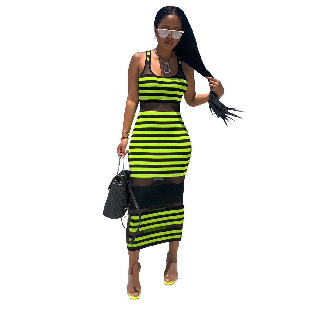 2019 mujeres atractivas de rayas de impresión sin mangas del tanque del vestido de malla transparente Opacidad ajustado de largo los vestidos del lápiz del club nocturno del vestido de partido