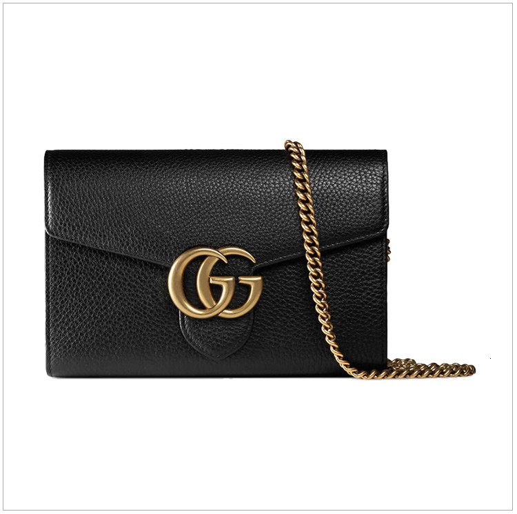 GUCCI / Gucci Marmont series ladies black double G buckle chain with shoulder wallet