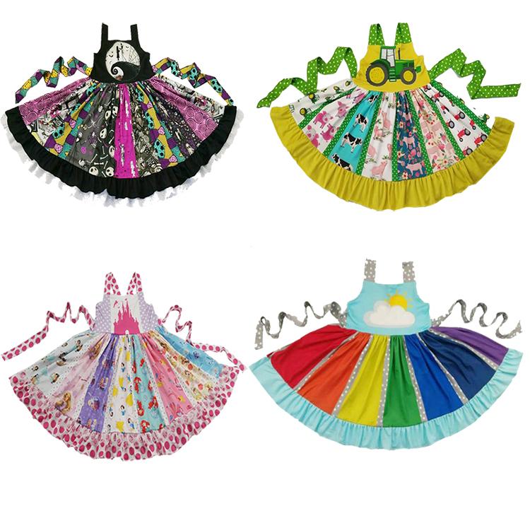 Heißer Verkauf Baby Mädchen Cartoon Party Nightmare Pattern Twirl Sleeveless Hohe Qualität Kleine Kinder Entzückende Dress Up Kostüme MX190724 MX190725