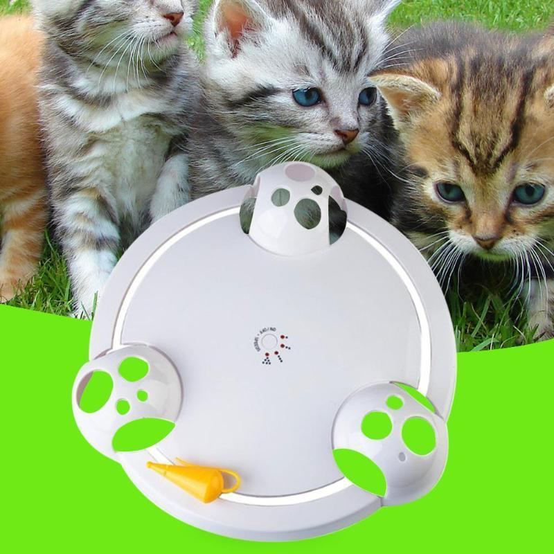 Pet Cat Automatic Rotating Mice Catch Plate Electric Interactive Teaser Toy For Cat Kitten Funny Training Toy Cat Products