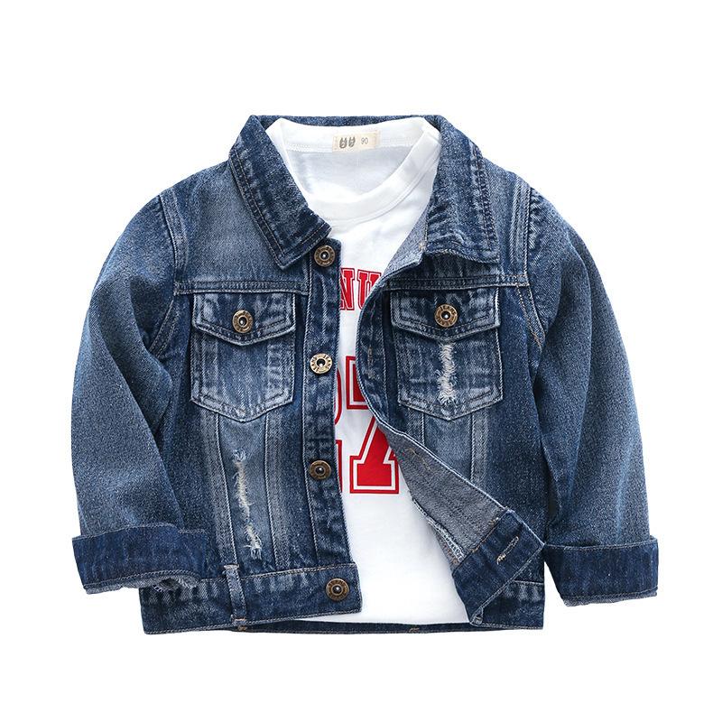 2019 Frühlings-Herbst-Oberbekleidung Jungen Jacken Kinder Fashion Solid Color Langarm Demin Mäntel Kinder Jungen Lässige Kleidung für 2-7Y Jungen