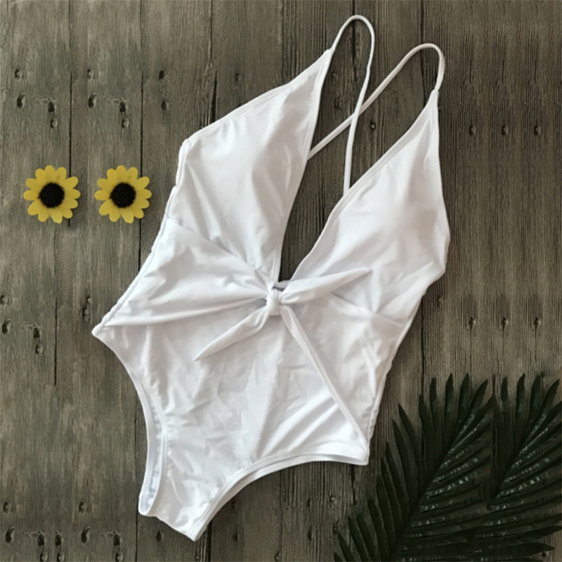 Sexy-Bowknot-Tie-One-piece-Swimsuit-White-Deep-V-Thong-Swimwear-Women-Trikini-2018-Bathing-Suit