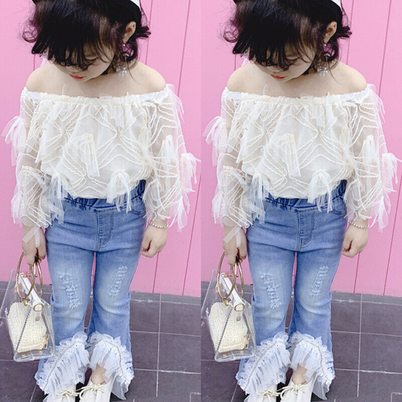 Ripped Denim Jeans Pantalons Vêtements Enfants bébé fille été tenues hors épaule Tops