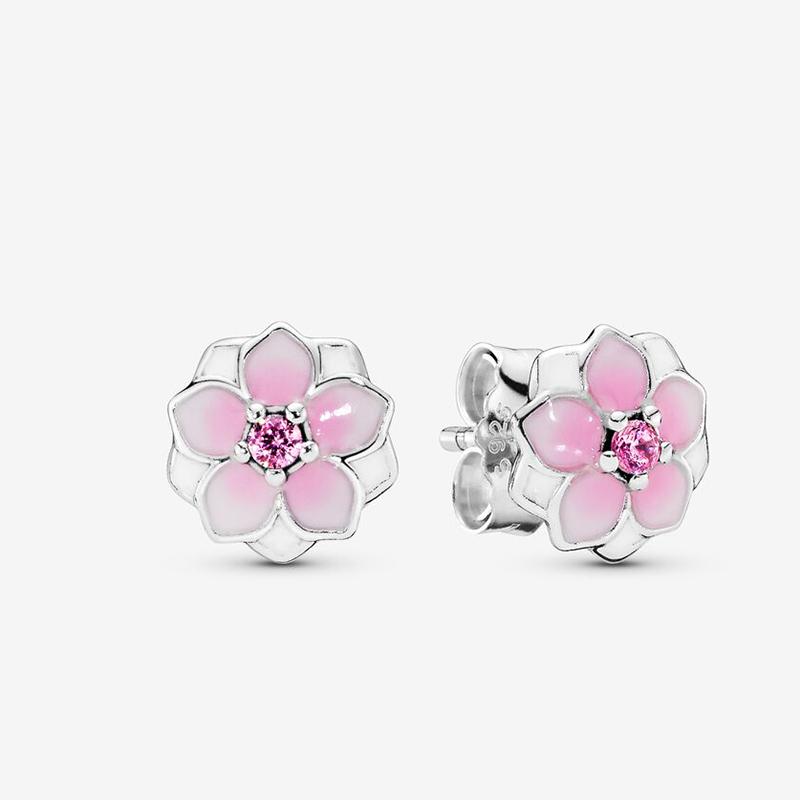 Élégant Argent Sterling 925 Magnolia Rose Blossom Clous D/'oreilles Femmes Bijoux