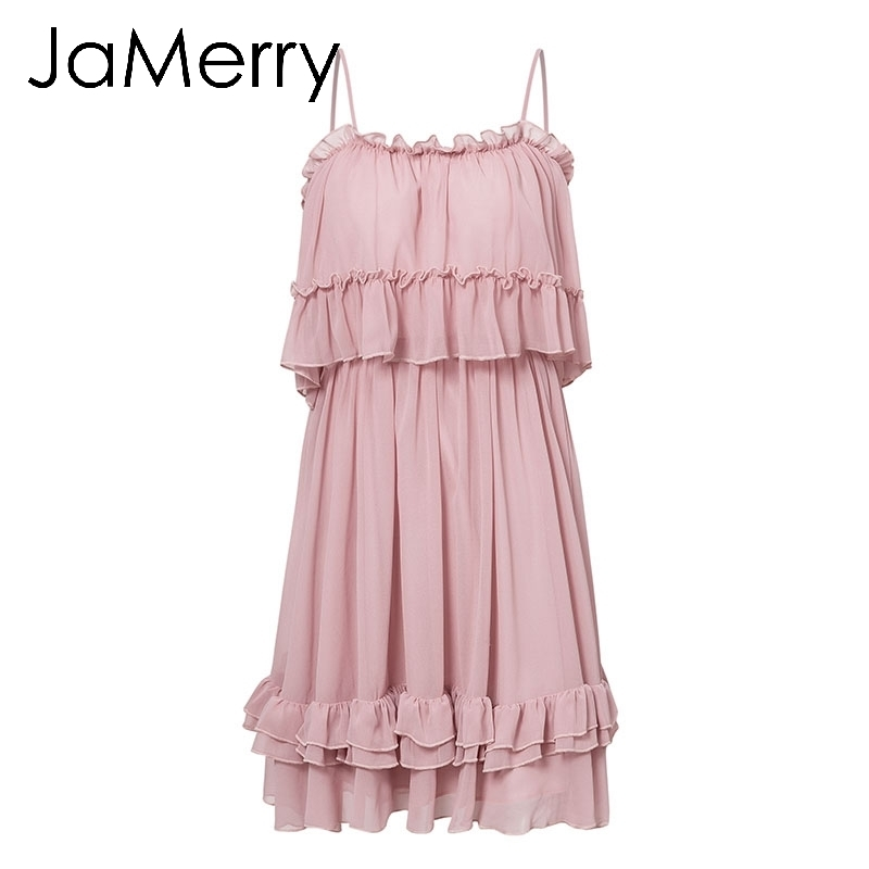 Jamerry Sexy Ruffle fuera del hombro mujeres Mini vestido correa de espagueti vestidos de verano Holiday Beach hembra rosa corta Sundress Q190508