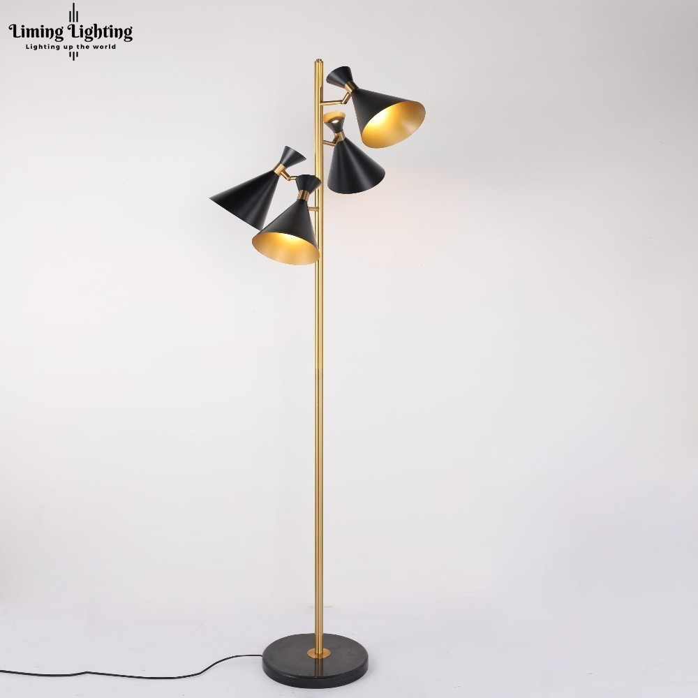Stüdyo Retro Post Modern İskandinav Hoparlör Tripot Led Zemin Lambası Altın Zemin Işık Daimi Işık Oturma Odası Yatak Odası Fikstürü Bar