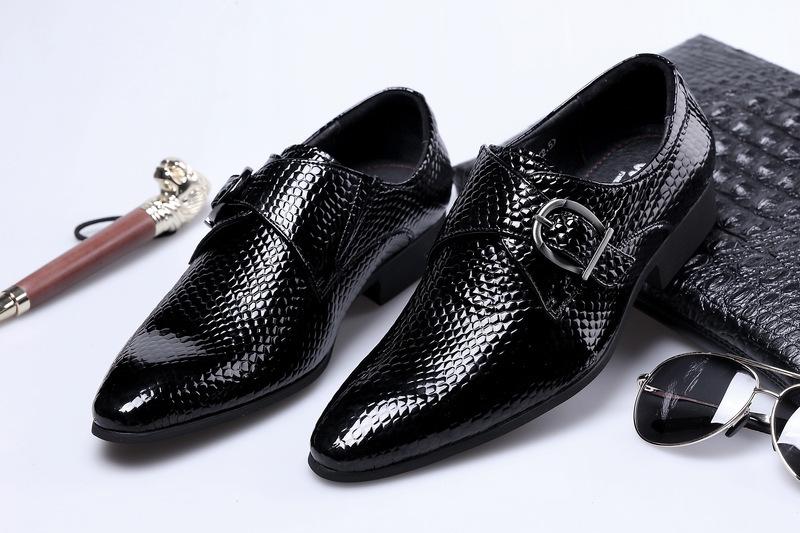 Sharp Snake Angleterre Enchanting2019 Tide Ephebe Affaires Affaires Chaussures Habillées Habillées Bovins En Cuir Verni Hasp Marry