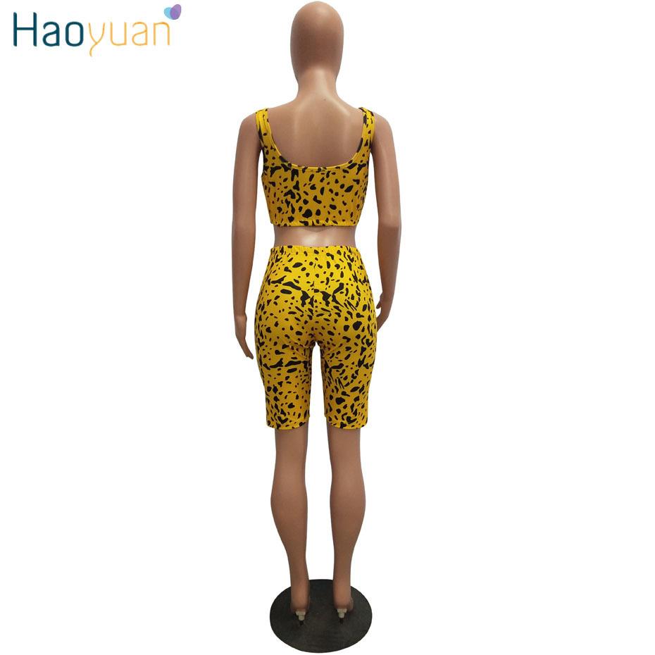 Haoyuan Snake Print Outfits Women Tracksuit Summer Crop Top+biker Shorts Sweat Suit Sexy Club Two Pcs Matching Sets C190416