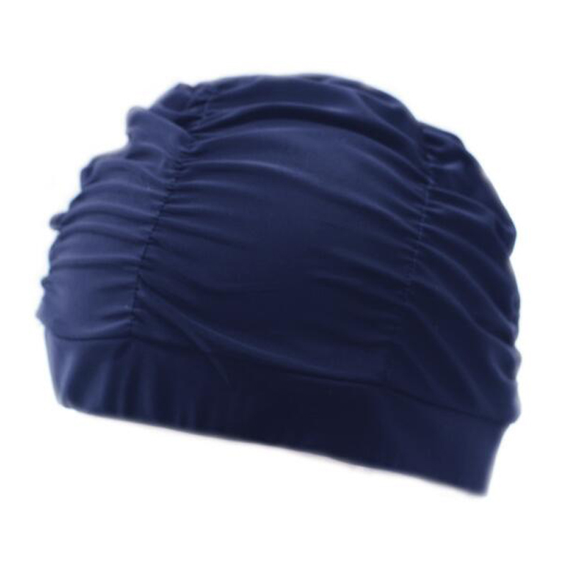 Fabric Swimming Cap Protect Long Hair Ears Pleated Flowers Printed Swim Pool Caps Hat Plus Size For Women Men Swimwear