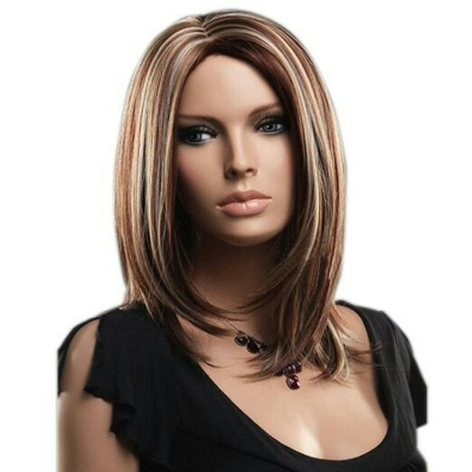 Women mid-wig brown mid-long straight hair side Bang Bobo Short Wig