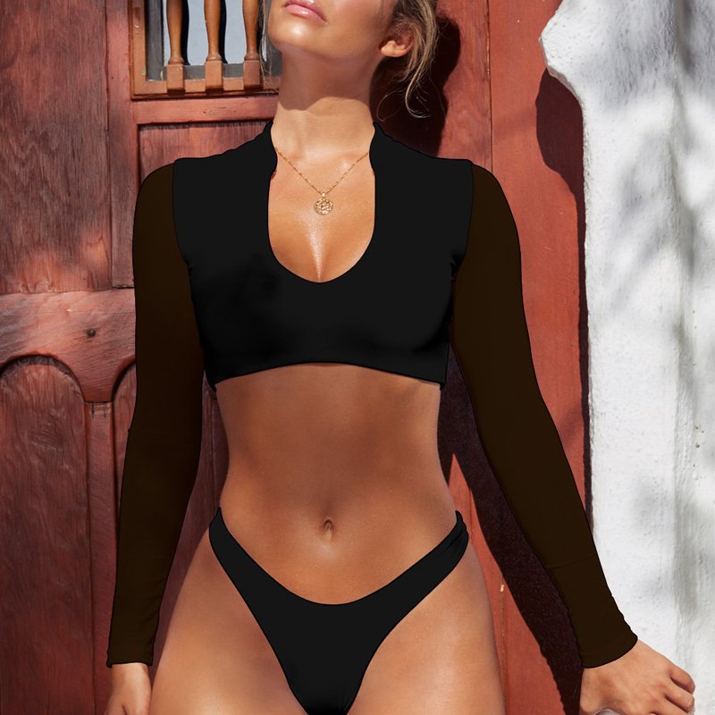 Bikinx Long Sleeve Brazilian High Cut White Swimsuit Thong Swimwear Women Bathers Micro Bikini Mesh Swimming Summer Q190525