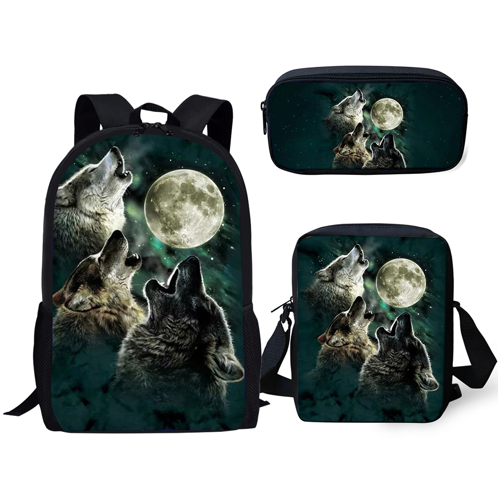 Boys//Girls Blue Preschool Toddler Kids Backpack /& Lunch Box Set Howling Wolf